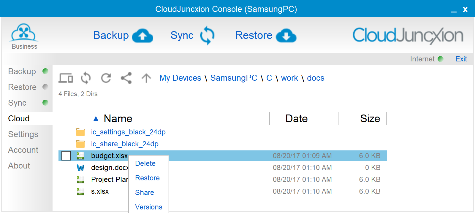 CloudJuncxion Share by right-clicking in the Cloud panel of the Console