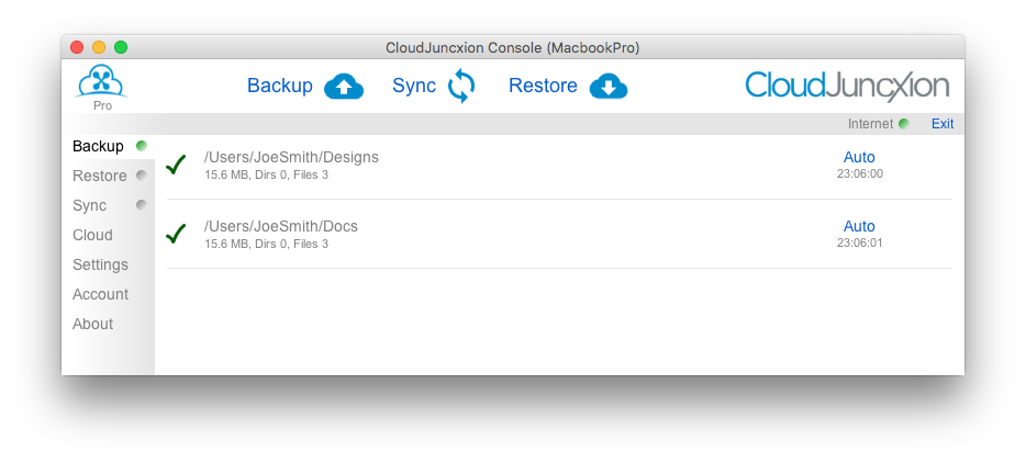 CloudJuncxion Console Backup Panel with two folders